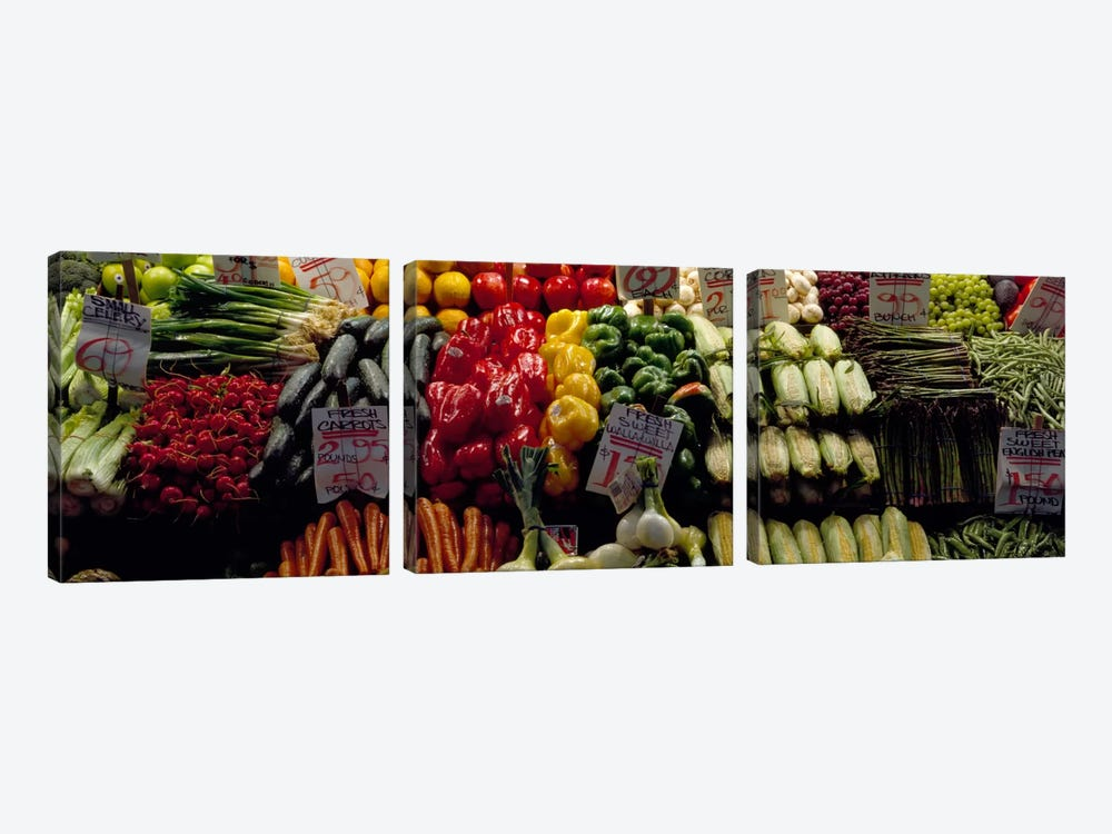 Fruits and vegetables at a market stall, Pike Place Market, Seattle, King County, Washington State, USA #2 by Panoramic Images 3-piece Canvas Art