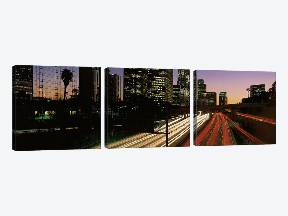Harbor Freeway Los Angeles CA by Panoramic Images 3-piece Canvas Wall Art