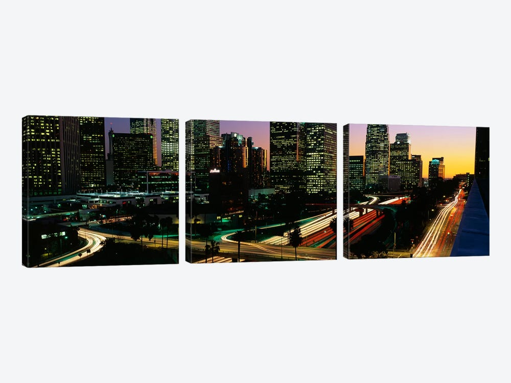 Harbor Freeway Los Angeles CA by Panoramic Images 3-piece Canvas Artwork