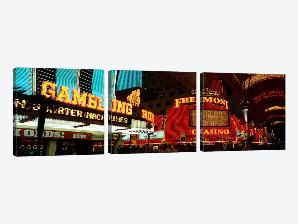 Fremont Street Experience Las Vegas NV by Panoramic Images 3-piece Canvas Art Print