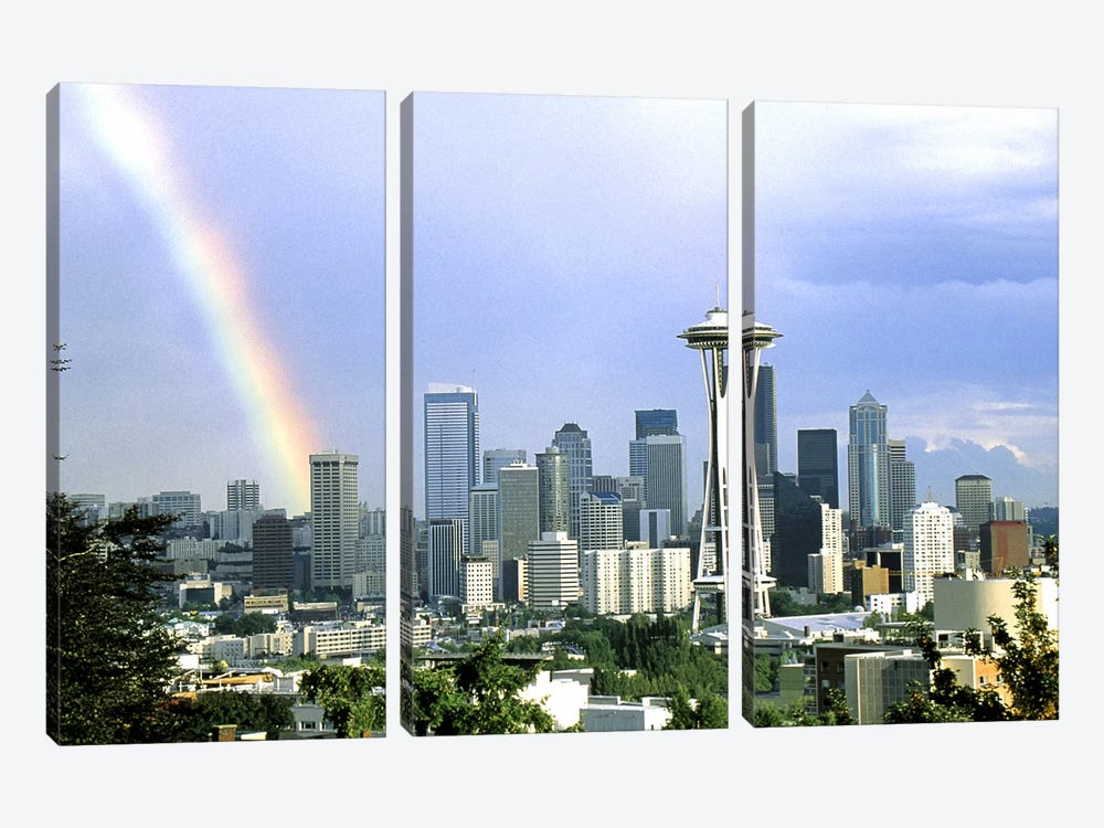 Rainbow Seattle WA by Panoramic Images 3-piece Canvas Artwork
