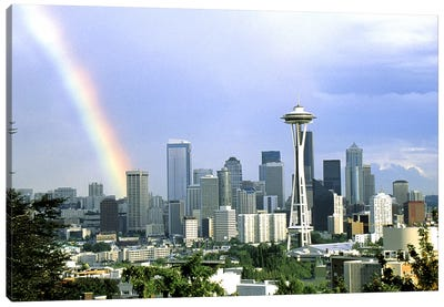 Rainbow Seattle WA Canvas Art Print