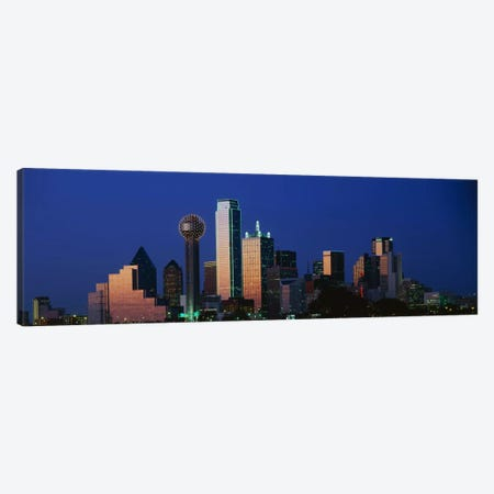 NightCityscape, Dallas, Texas, USA Canvas Print #PIM3262} by Panoramic Images Canvas Artwork