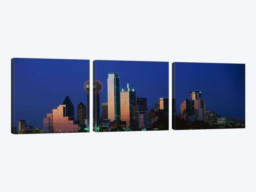 NightCityscape, Dallas, Texas, USA by Panoramic Images 3-piece Canvas Art Print