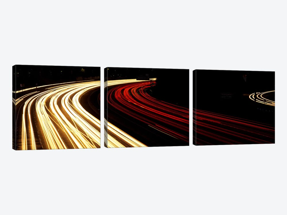 Hollywood Freeway at Night CA 3-piece Canvas Wall Art