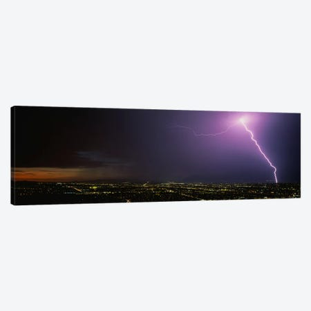 Lightning Storm at Night Canvas Print #PIM3276} by Panoramic Images Canvas Art