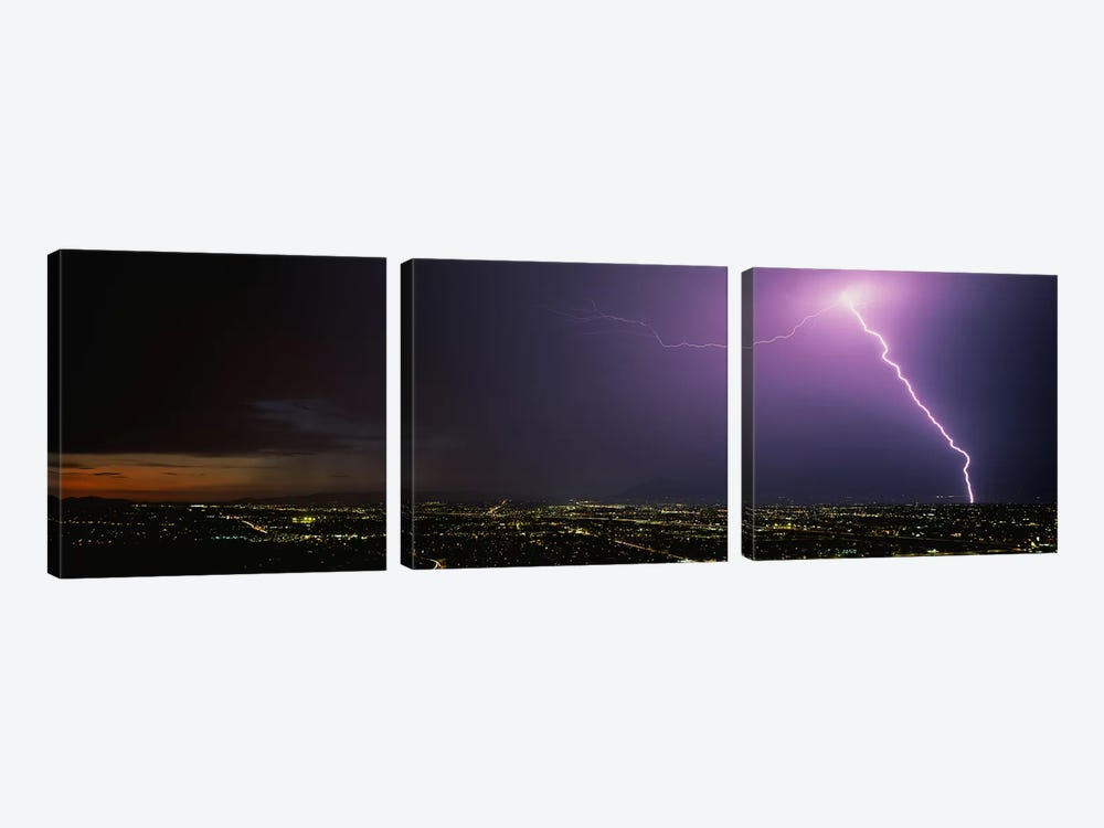 Lightning Storm at Night by Panoramic Images 3-piece Canvas Wall Art