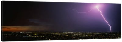Lightning Storm at Night Canvas Art Print