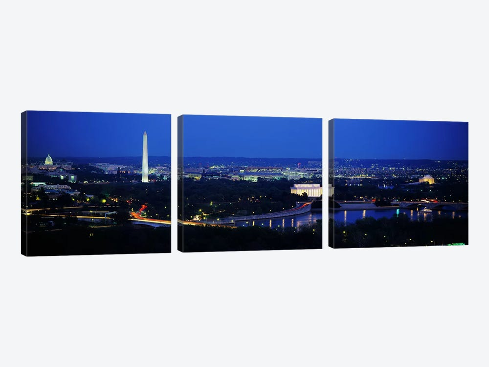 High angle view of a cityWashington DC, USA 3-piece Canvas Artwork