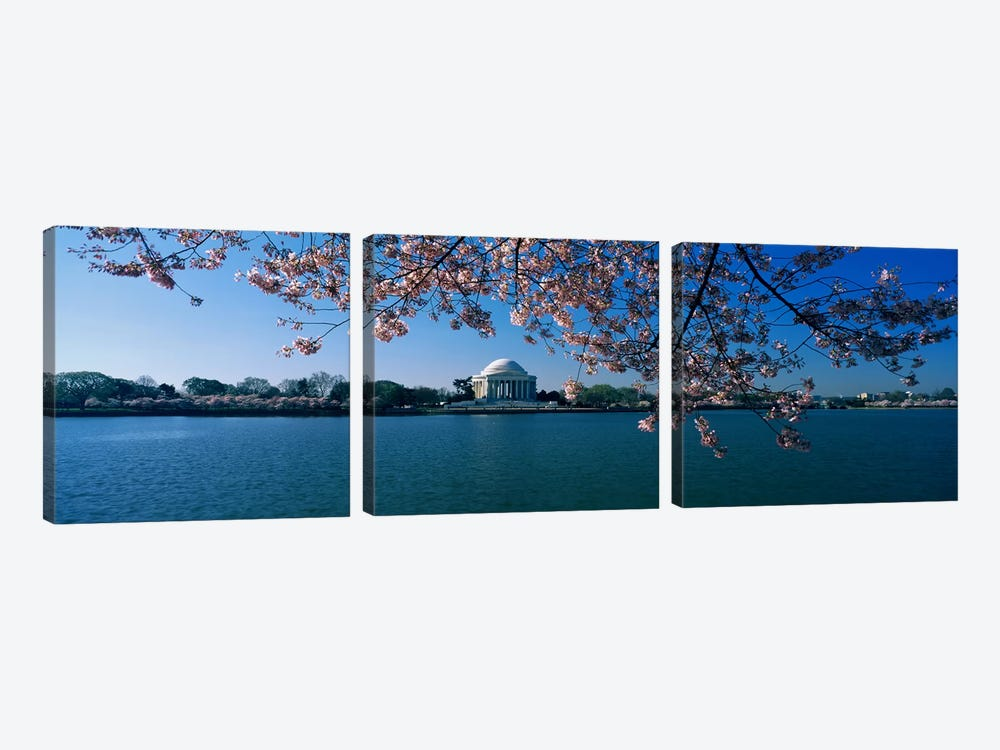 Monument at the waterfront, Jefferson Memorial, Potomac River, Washington DC, USA 3-piece Art Print