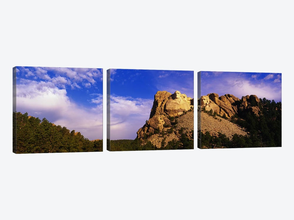 Low-Angle View Of Mount Rushmore National Memorial, Black Hills, South Dakota, USA by Panoramic Images 3-piece Canvas Wall Art