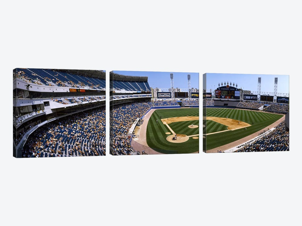High angle view of a baseball stadium, U.S. Cellular Field, Chicago, Cook County, Illinois, USA by Panoramic Images 3-piece Canvas Art