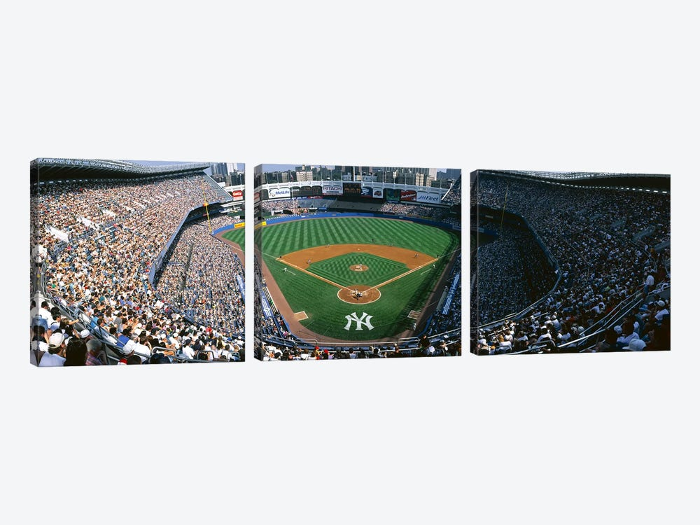 High angle view of a baseball stadium, Yankee Stadium, New York City, New York State, USA by Panoramic Images 3-piece Canvas Artwork