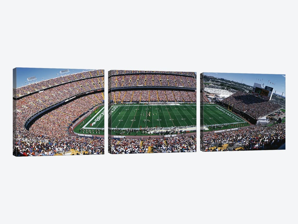 Sold Out Crowd at Mile High Stadium by Panoramic Images 3-piece Canvas Wall Art