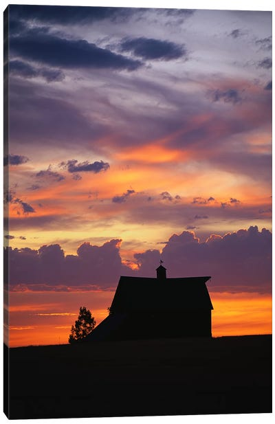 Barn at Sunset Canvas Art Print