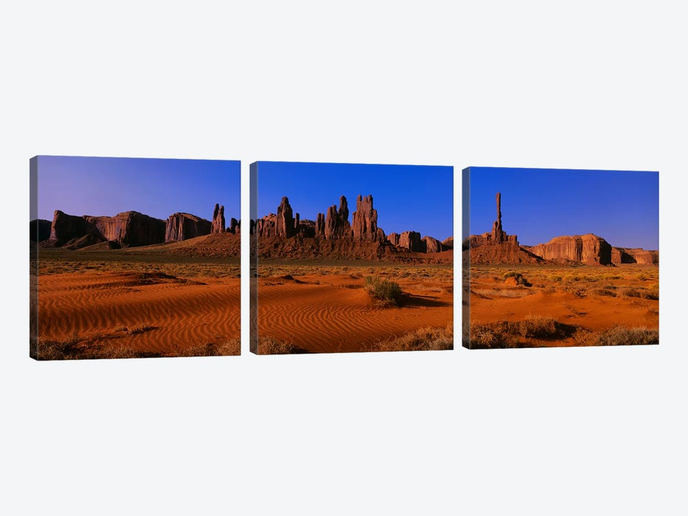 Totem Pole & Yel-Bichel, Monument Valley National Park, Arizona, USA by Panoramic Images 3-piece Canvas Print