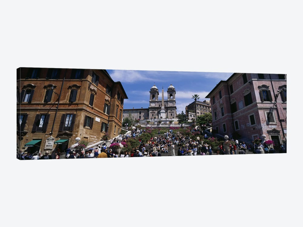 Low angle view of tourist on steps, Spanish Steps, Rome, Italy 1-piece Canvas Artwork