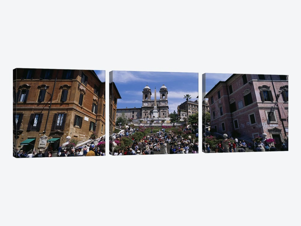 Low angle view of tourist on steps, Spanish Steps, Rome, Italy 3-piece Canvas Art