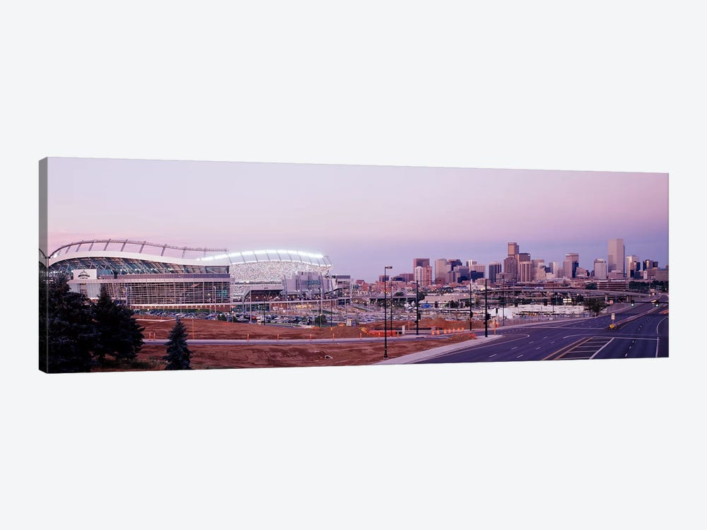 USA, Colorado, Denver, Invesco Stadium, Skyline at dusk by Panoramic Images 1-piece Canvas Wall Art