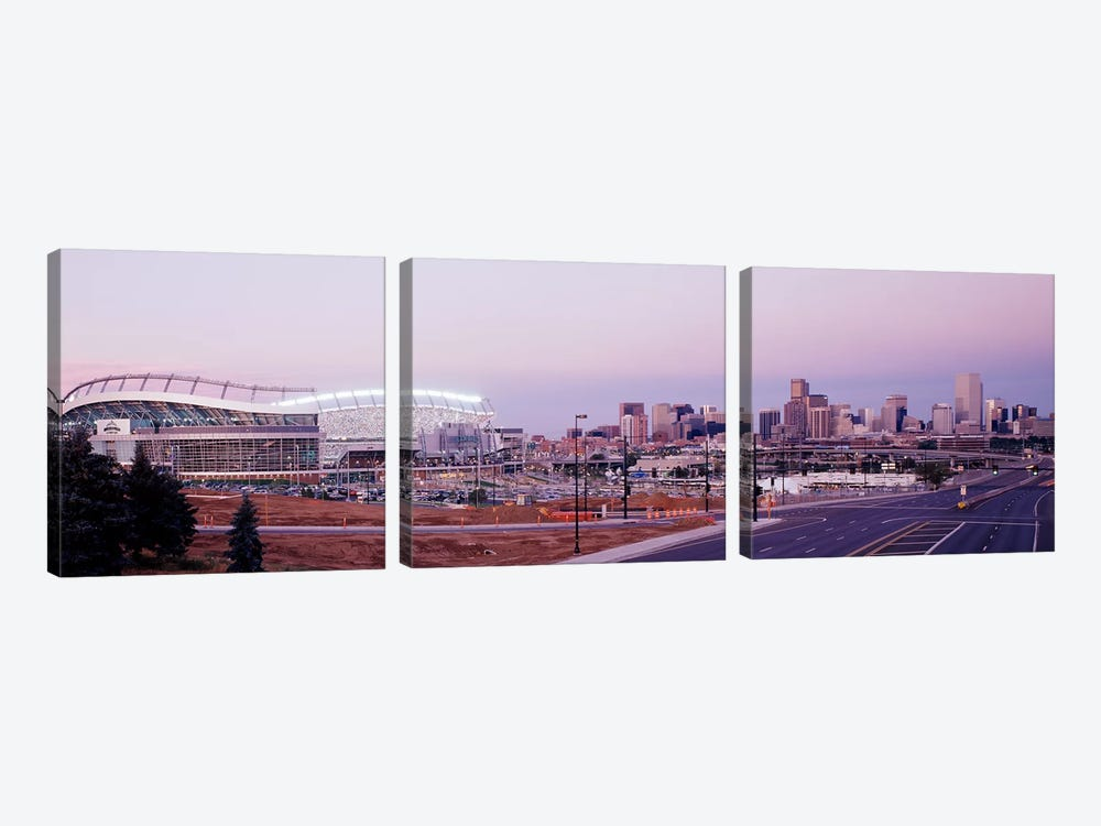 USA, Colorado, Denver, Invesco Stadium, Skyline at dusk by Panoramic Images 3-piece Canvas Art