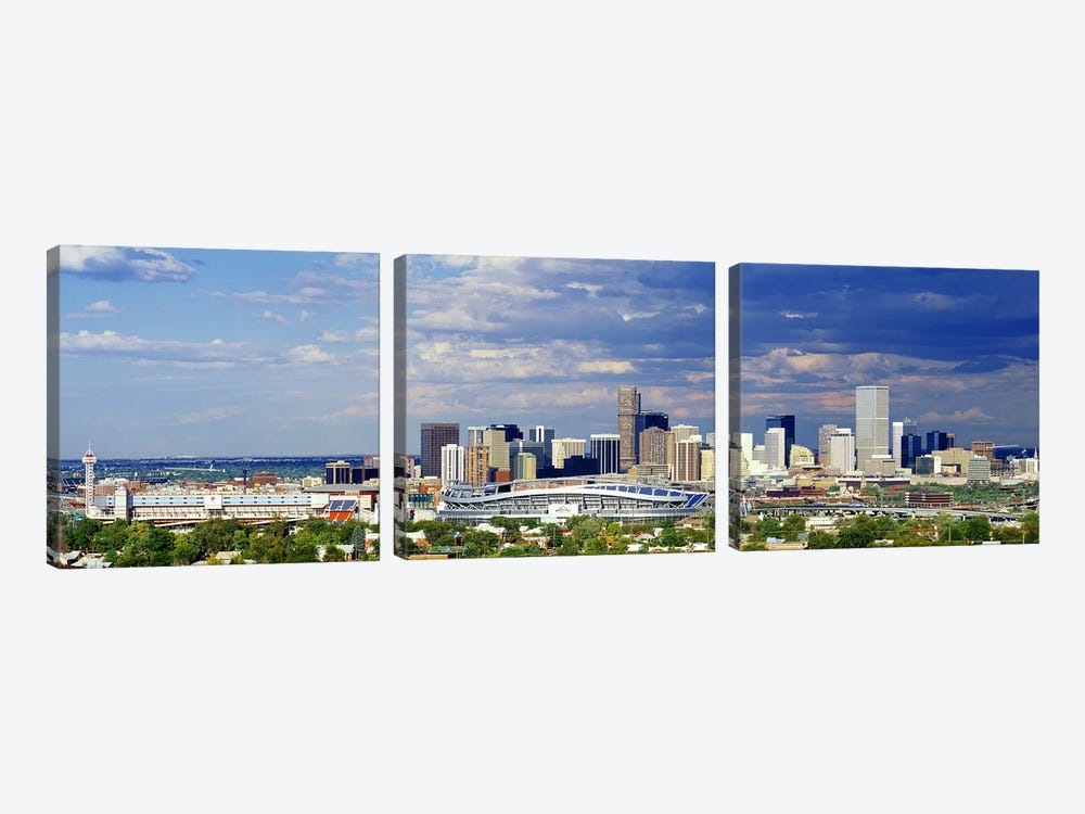USA, Colorado, Denver, Invesco Stadium, High angle view of the city by Panoramic Images 3-piece Canvas Artwork