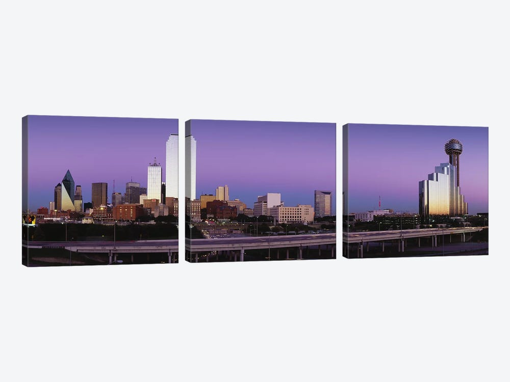 Buildings in a city, Dallas, Texas, USA by Panoramic Images 3-piece Canvas Wall Art