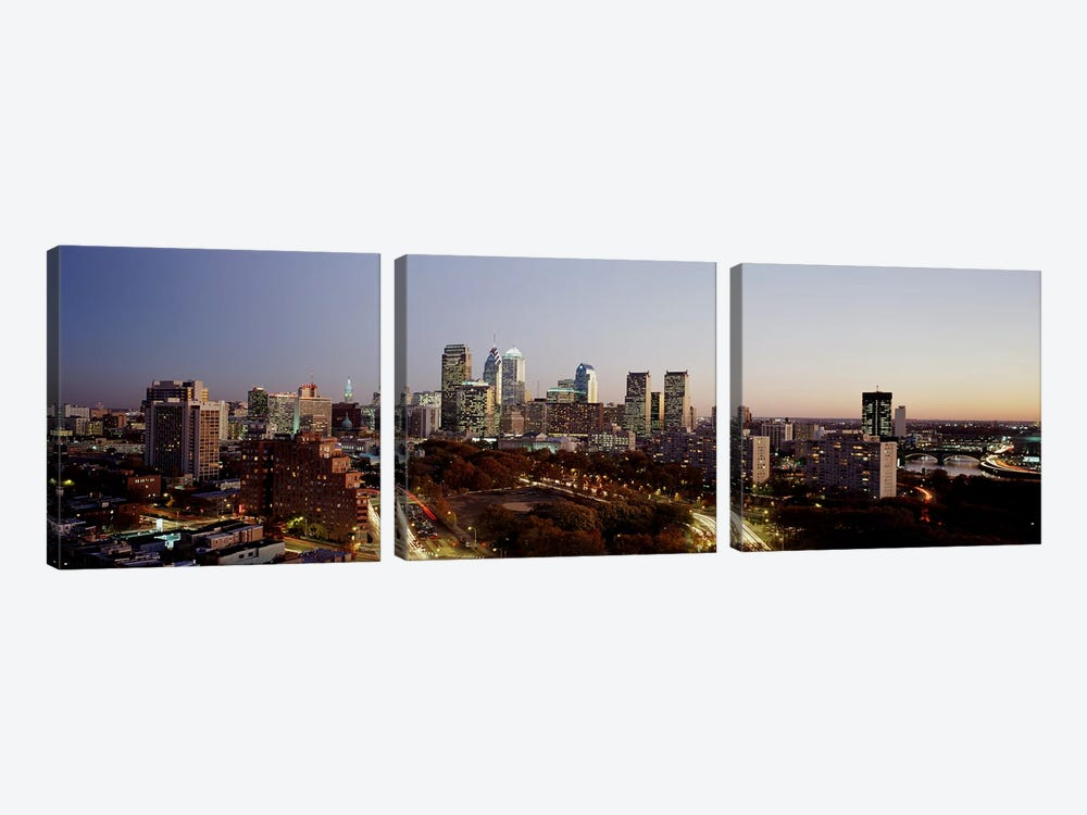 High angle view of a city, Philadelphia, Pennsylvania, USA by Panoramic Images 3-piece Canvas Wall Art