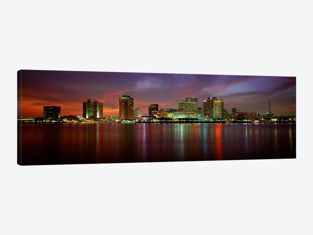Buildings lit up at the waterfront, New Orleans, Louisiana, USA by Panoramic Images 1-piece Canvas Print