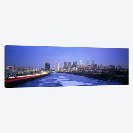 Buildings lit up at night, Philadelphia, Pennsylvania, USA Canvas Print #PIM3335} by Panoramic Images Canvas Print