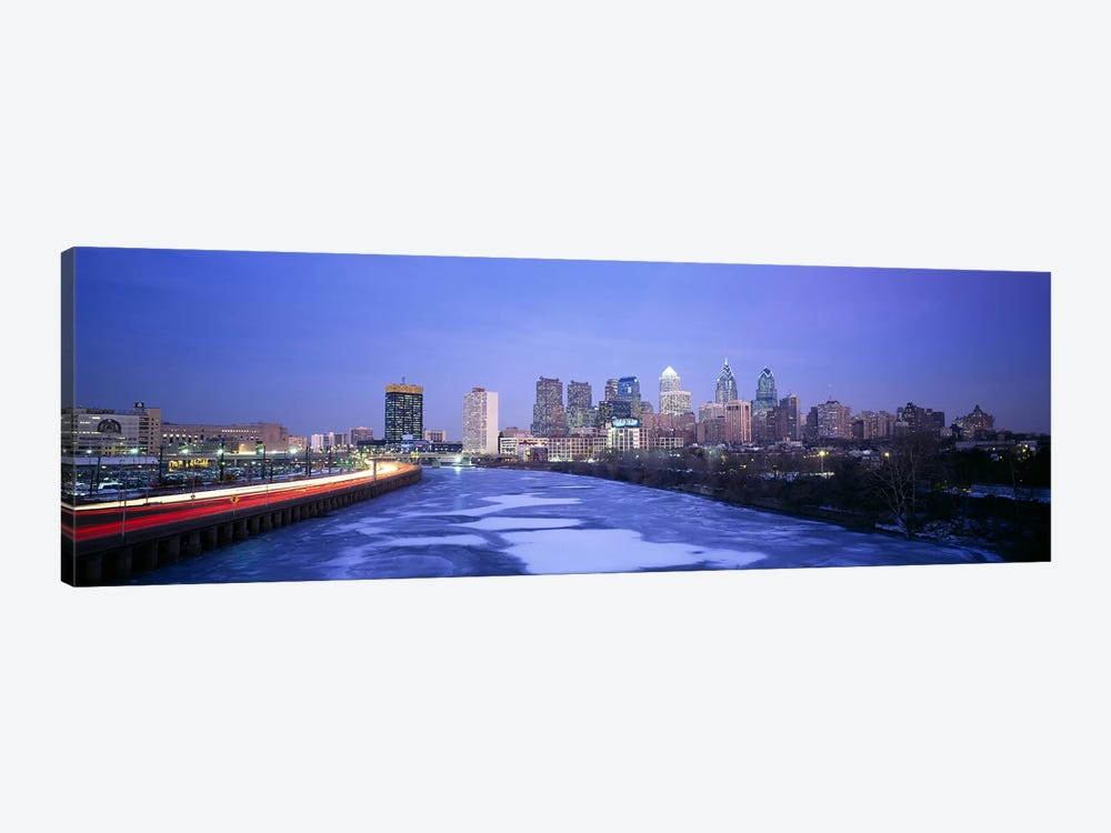 Buildings lit up at night, Philadelphia, Pennsylvania, USA by Panoramic Images 1-piece Canvas Art