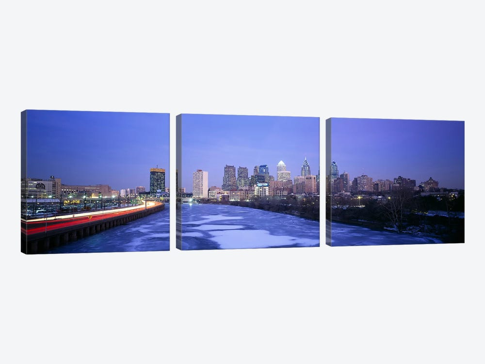 Buildings lit up at night, Philadelphia, Pennsylvania, USA by Panoramic Images 3-piece Canvas Art