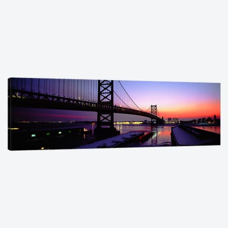 Suspension bridge across a river, Ben Franklin Bridge, Philadelphia, Pennsylvania, USA Canvas Print #PIM3336} by Panoramic Images Canvas Print