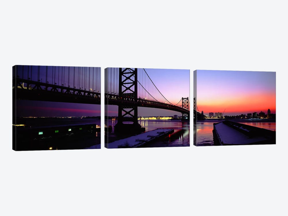 Suspension bridge across a river, Ben Franklin Bridge, Philadelphia, Pennsylvania, USA by Panoramic Images 3-piece Canvas Art Print