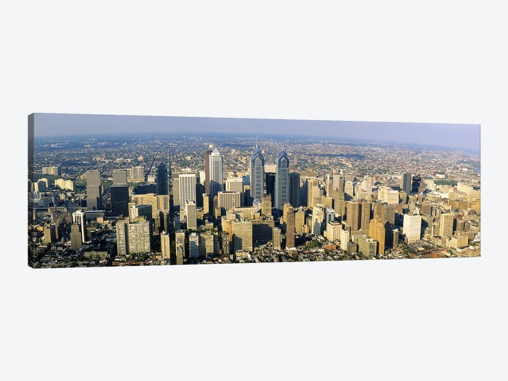 Aerial view of skyscrapers in a city, Philadelphia, Pennsylvania, USA by Panoramic Images 1-piece Canvas Art