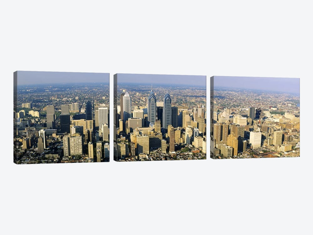 Aerial view of skyscrapers in a city, Philadelphia, Pennsylvania, USA by Panoramic Images 3-piece Canvas Wall Art