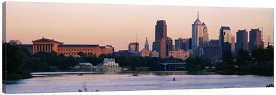 Buildings on the waterfront, Philadelphia, Pennsylvania, USA Canvas Art Print