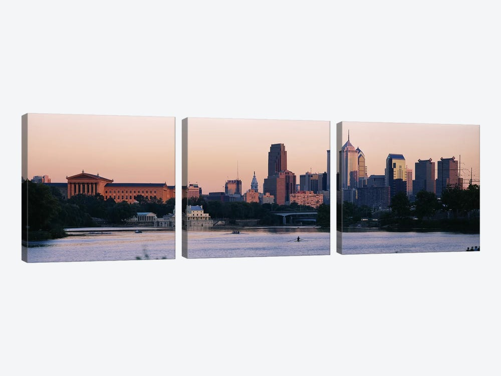 Buildings on the waterfront, Philadelphia, Pennsylvania, USA by Panoramic Images 3-piece Canvas Artwork
