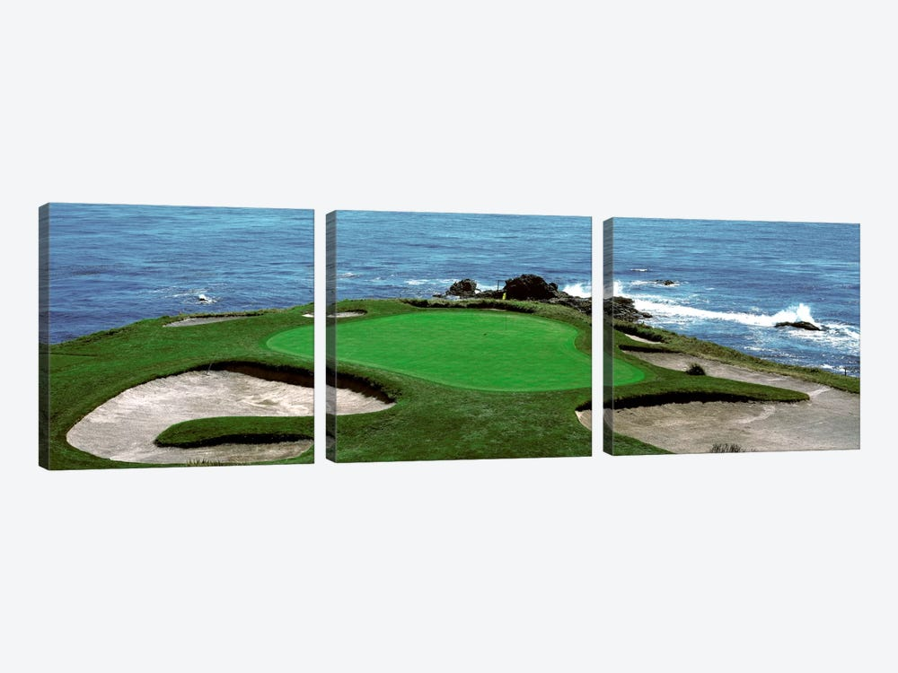 Pebble Beach Golf Course 8th Green Carmel CA by Panoramic Images 3-piece Canvas Art