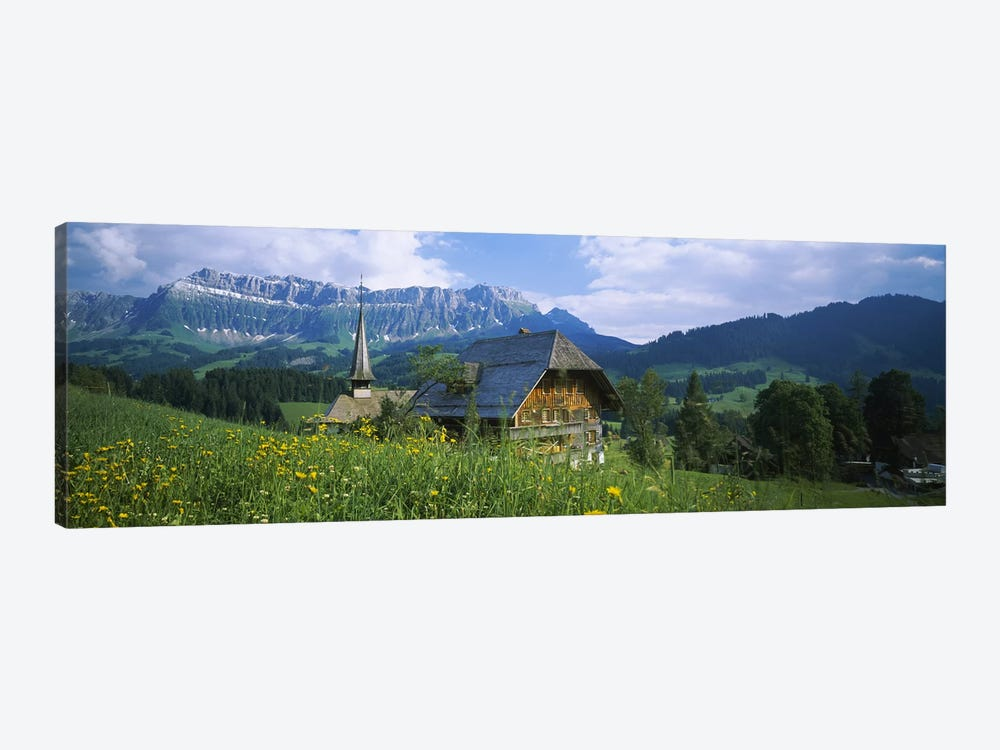 Chalet and a church on a landscape, Emmental, Switzerland 1-piece Canvas Wall Art