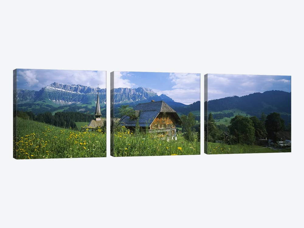 Chalet and a church on a landscape, Emmental, Switzerland by Panoramic Images 3-piece Canvas Artwork