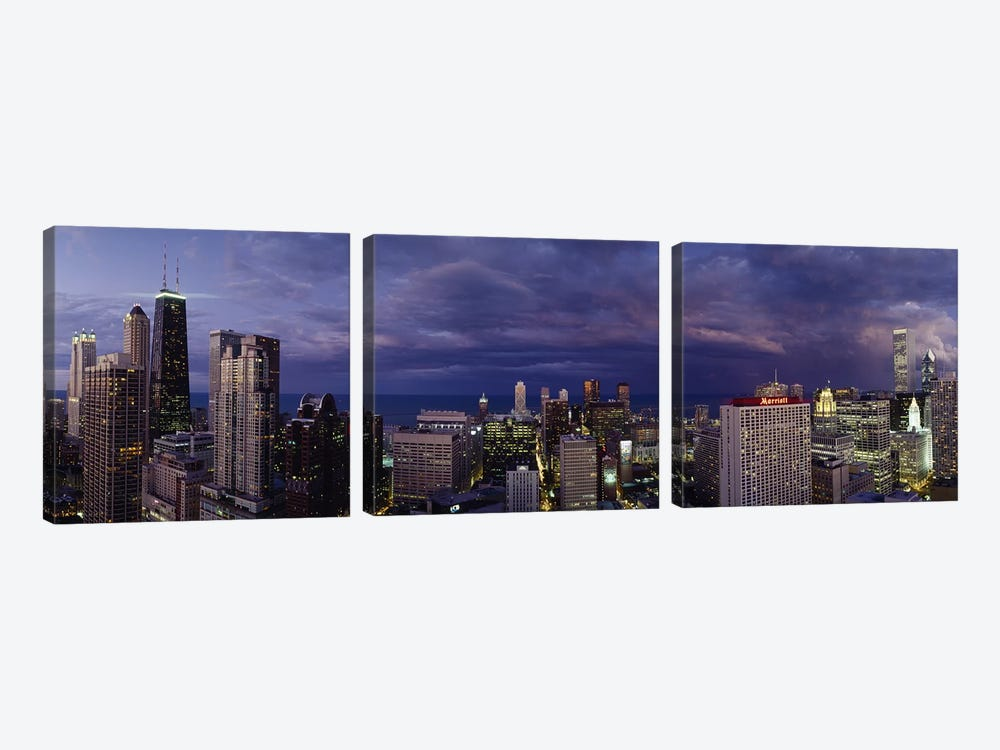 Evening Chicago IL by Panoramic Images 3-piece Canvas Wall Art