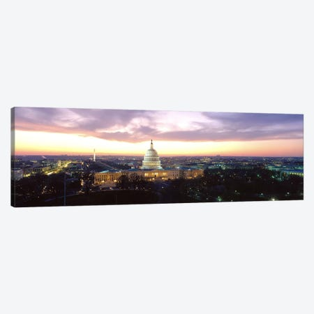 TwilightCapitol Building, Washington DC, District of Columbia, USA Canvas Print #PIM3359} by Panoramic Images Canvas Wall Art