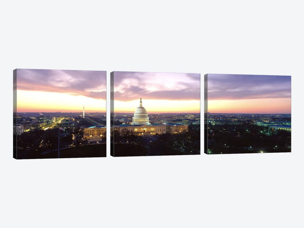 TwilightCapitol Building, Washington DC, District of Columbia, USA by Panoramic Images 3-piece Canvas Artwork
