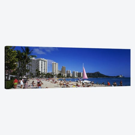 Waikiki Beach Oahu Island HI USA Canvas Print #PIM3365} by Panoramic Images Canvas Artwork