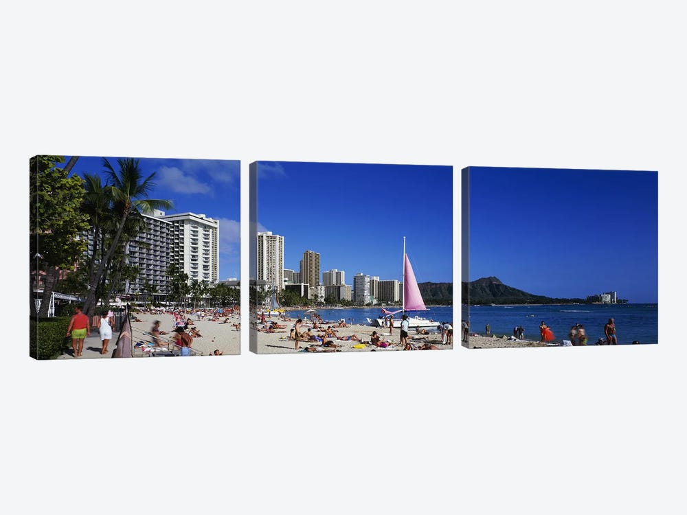 Waikiki Beach Oahu Island HI USA by Panoramic Images 3-piece Art Print