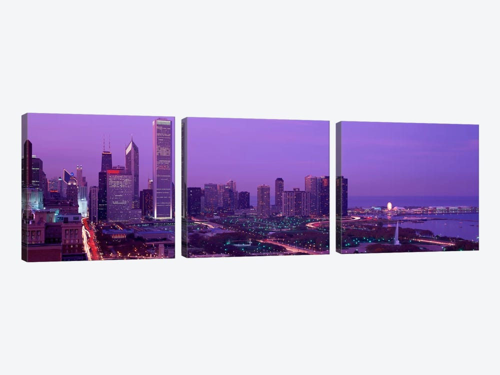 Evening Chicago IL USA by Panoramic Images 3-piece Canvas Art Print