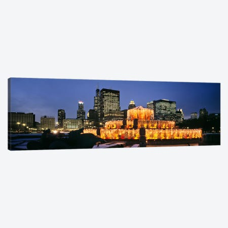 Buckingham Fountain Decorated For ChristmasChicago, Illinois, USA Canvas Print #PIM3375} by Panoramic Images Canvas Art Print