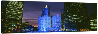 Wrigley Building, Blue Lights, Chicago, Illinois, USA Canvas Print #PIM3376