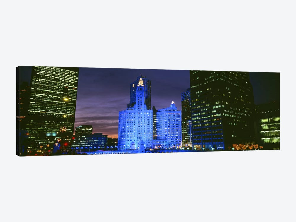 Wrigley Building, Blue Lights, Chicago, Illinois, USA by Panoramic Images 1-piece Art Print