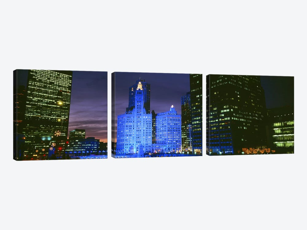 Wrigley Building, Blue Lights, Chicago, Illinois, USA by Panoramic Images 3-piece Canvas Print